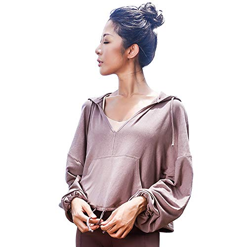 La Nikar Workout Running Hoodies for Women - Loose Long Sleeve Top with Pocket for Fitness Gym in Coffee S
