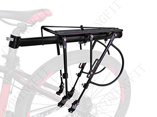 COMINGFIT 140kg Capacity Adjustable Bike Luggage Cargo Rack-Super Strong Upgrade Bike Luggage Carrier 6-Strong-Leg Bicycle Cargo Carrier