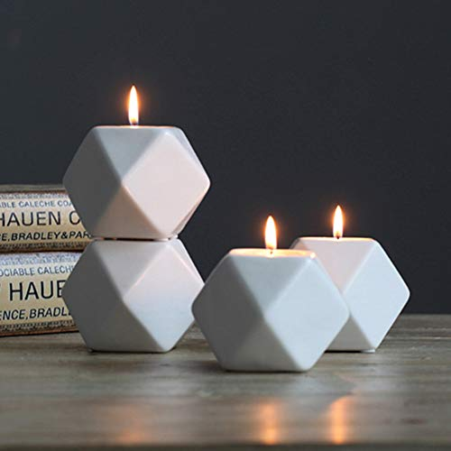 Ruilasago Geometric Tea light Candle Holder | Ideal For Weddings, Home Decor, Parties, Table Settings & Gifts (Set of 4)