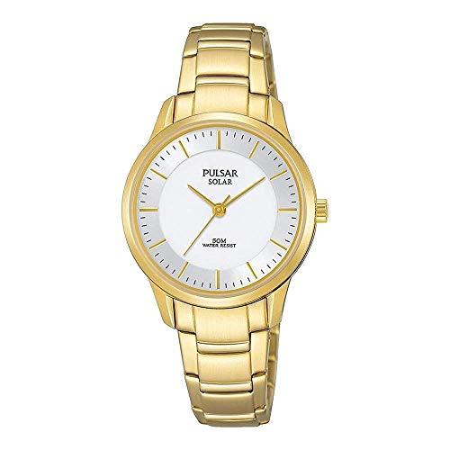 Pulsar dames analoog zonne-horloge met roestvrij stalen armband PY5042X1