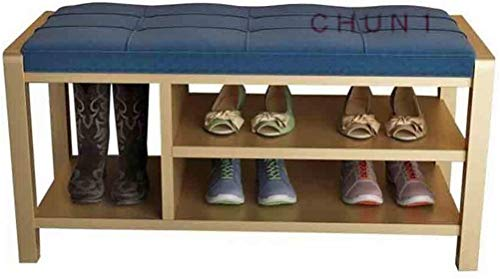 Zapato Banco Rack, algodón lino metal superior Base Botas Organizador de almacenamiento 111 1010 (Color : Blue, Size : 100cm)