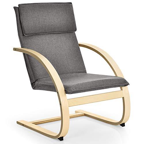 COSTWAY Relaxsessel Holz, Relaxstuhl inkl. abnehmbare Kissen, Lounge Stuhl bis 150kg belastbar, Entspannungsstuhl Fernsehsessel Liegestuhl für Wohnzimmer, Schlafzimmer, Balkon (Grau)