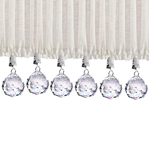 6PACK Curtain Weights for Shower Curtain, 20oz Heavy Premium Added Crystal Glass Prisms Pendant Curtain Weights with Thickening Stainless Steel Curtain Clips(6Pack)