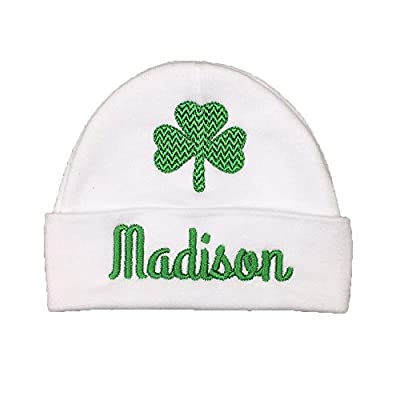 Personalized Baby hat with Shamrock for a Baby Girl or Baby boy, Custom Irish Baby Gift, Clover Baby hat, St. Patrick's Day Baby hat (3-6 Months)