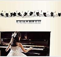 ウォールステッカーデカール 黒猫ピアノ取り外しやすいPVC装飾リビングルーム 壁画家の装飾