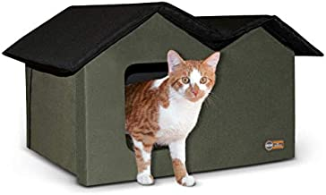 K&H Pet Products Outdoor Heated Kitty House Extra-Wide Olive/Black 26.5