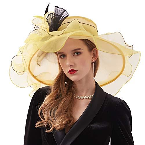 Go Mai Women Kentucky Derby Hat Organza Hats Two Wear Ways,Hat Flower Can Be Used As a Headwear, Yellow, One Size