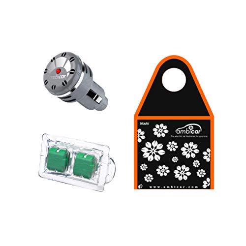 AMBICAR - Ambientador eléctrico para COCHE. Pack Insilver Nº1 (Difusor + Recambio NATURE + Bolsa Ecológica) Esencia Natural, SIN Alcohol ni Químicos. Fragancia fresca + bolsita para guardar cosas
