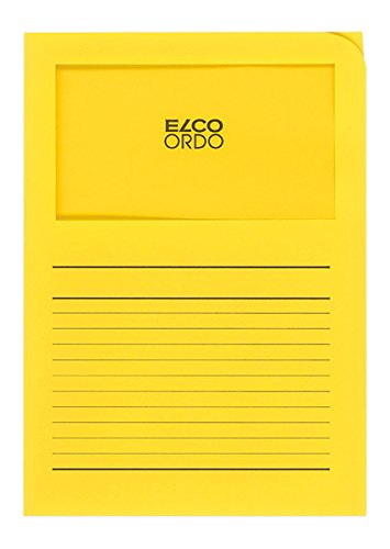 Elco Ordo Classico Papier-Organisationsmappen 220 x 310 mm 120 g/m² mit Aufdruck und Sichtfenster 180 x 100 mm Karton à 100 Stück leuchtend gelb