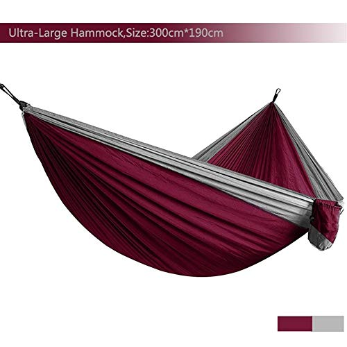GZSC Hamac Ultra-Grand Léger Parachute Hamac Camping Survie Jardin Chasse Loisirs Voyage Double Personne (Color : Red and Light Grey)