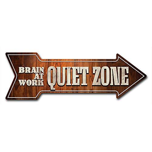 "SignMission Decal Art Quiet Zone Brain at Work Decal Indoor/Outdoor Decor 24"" Directional Sticker Vinyl Wall Decals"