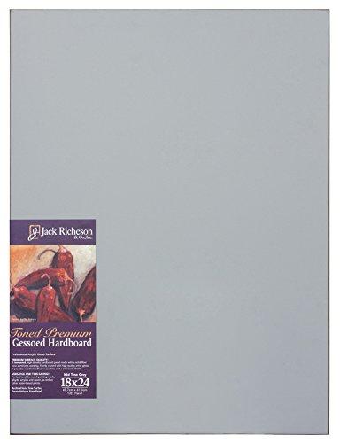 "Jack Richeson Richeson Mid Grey Toned Gessoed 1/8"" Hardboard 18""x24"""