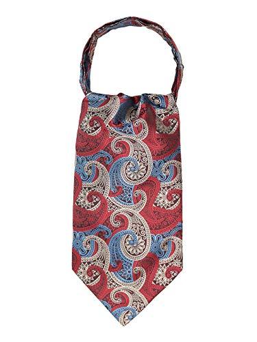 WANYING Herren Krawattenschal Ascotkrawatte Schal Cravat Ties Einfach Schick für Gentleman - Paisley Rot Weiß Blau