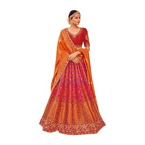 Designer Wedding Bridal Silk Lehenga Choli Ghagra Girl Skirt Top Rock Kleid mit Dupatta Frauen traditionelle Hochzeit indische Frau festlich...
