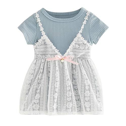 Allence Kleid Mädchen Sommerkleider Baby Kurzarm Spitze Blumen-Fälschungs-zweiteiliges Kleid