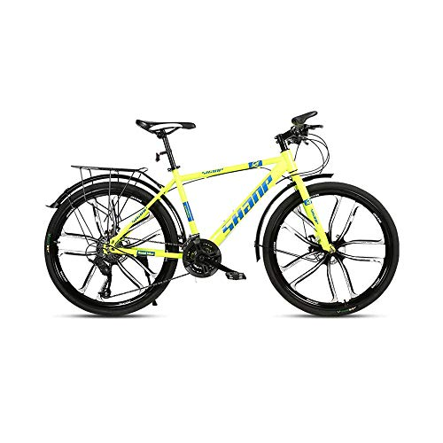 GYZLZZB Ten Knife Wheels Adult 26 Inch 21-Speed Bicycle Full Suspension Gears Dual Disc Brakes Mountain Bicycle, High-Carbon Steel Outdoors Mountain Bike with Shelves and Fenders(Yellow)