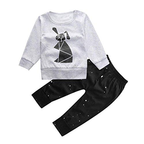 kingko® 1Réglez Toddler Fille Garçon Cartoon Imprimer manches longues T-shirts Tops + Pantalons Tenues Vêtements (24M)
