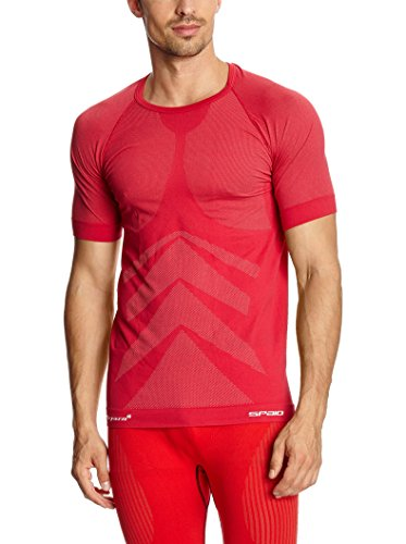 SPAIO ® Relieve Camiseta de Hombre de Manga Corta, Rojo, S/M