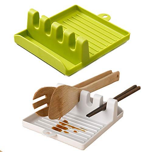 nuluxi Appoggia Cucchiaio Poggiamestolo Silicone Antiscivolo Porta Posate da Cucina Supporto da Appoggia Cucchiaio Silicone Porta Cucchiai Antiscivolo e Resistente al Calore per Utensili da Cucina