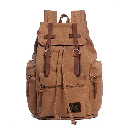 Canvas Backpack, PKUVDSL-AUGUR Series Vintage Leather Backpack Hiking Daypacks
