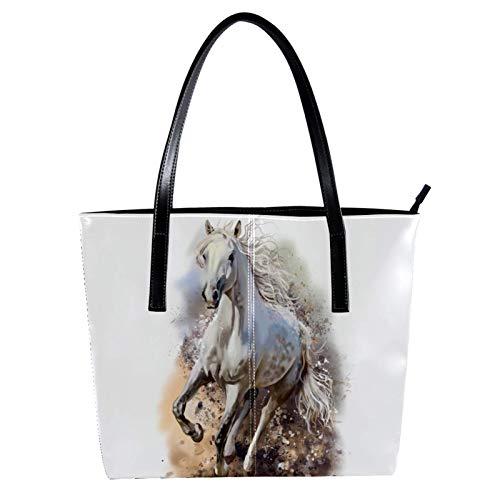 Bolsos de Mujer Bolso Grande Bolso Tote Moda Bolso de Hombro Bolso de Hombro de Gran Capacidad Minimalista para Mujer con Bolso de Mano Encanto Cuadro caballo blanco corriendo 40 x 29 x 9cm