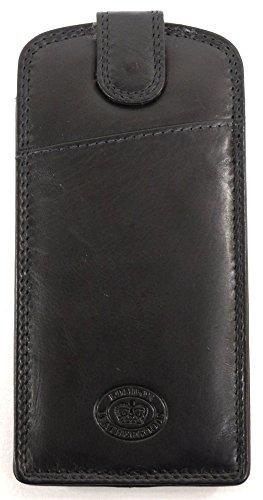 London Leather Brillenetui Dame/Herren aus weichem Leder, schmale Silouette - Schwarz