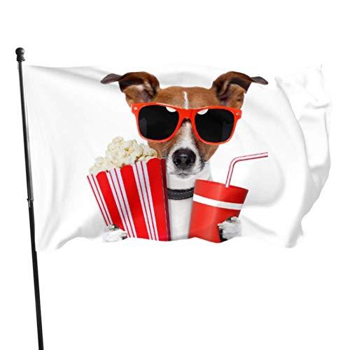 Bandera de jardín Perro con gafas de sol Palomitas de maíz y bebida Cola Color vivo y resistente a la decoloración UV Bandera de patio de doble costura Bandera de temporada Bandera de pared 150X90cm