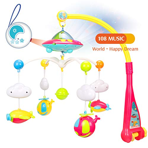 WishaLife Musical Baby Crib Mobile Toy with Lights and Music, Star Projector Function and 4 Dangling Aircraft Toys, Remote Control Musical Box with 108 Melodies, Baby Toys for 0-24 Months Newborn