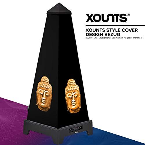 XOUNTS Style Cover 'Buddha Gold' – Premium Flies-Cover für XOUNTS UP Musikanlage – Einzigartiges Design – Schwarzes Cover mit goldenen Buddha-Köpfen – Als Zubehör für XOUNTS UP Lautsprecher