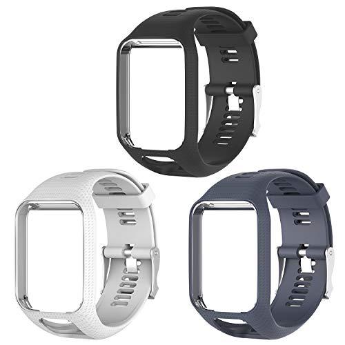 Kit com 3 pulseiras de Silicone Tom Tom Para Relógio Tomtom Runner 2/3 / Spark/Adventurer/Golfer/Cardio…