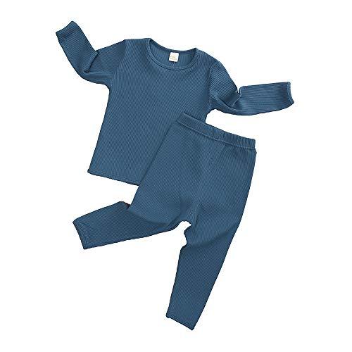 Kids Tales Baby Boys Girls Ribbed Pajama Set 2Pcs Solid Outfits Clothes Toddler Long Sleeve T-Shirt + Elastic Pants
