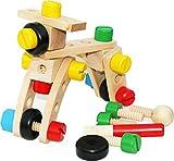 Toys of Wood Oxford TOWO Set con Viti e Bulloni - Giocattolo in Legno - Set di Blocchi da Costruzioni con 30 Pezzi e Una Borsa con Cordino - Gioco di Costruzioni in Legno per Bambini di 4 Anni