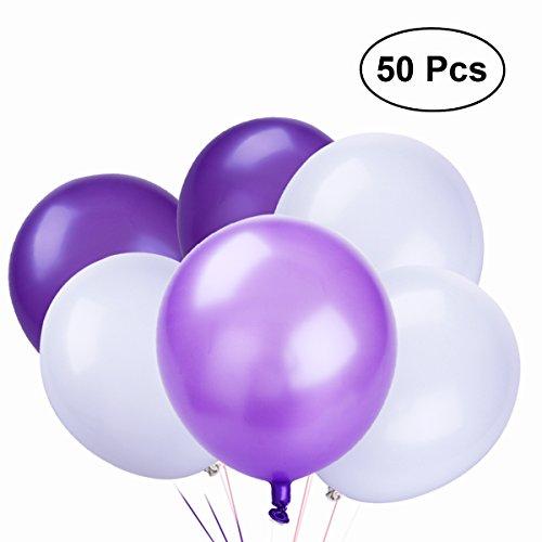 NUOLUX Latex Luftballons,10 Zoll weiße lila Luftballons für Party Supplies, 50 Stück, 3 Farben