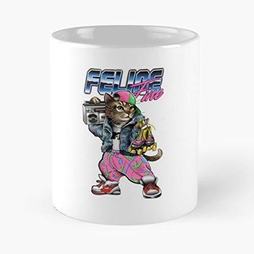 queenly 80 Rollerskates Cat Boombox S La Mejor Taza de café de cerámica de mármol Blanco de 11 oz
