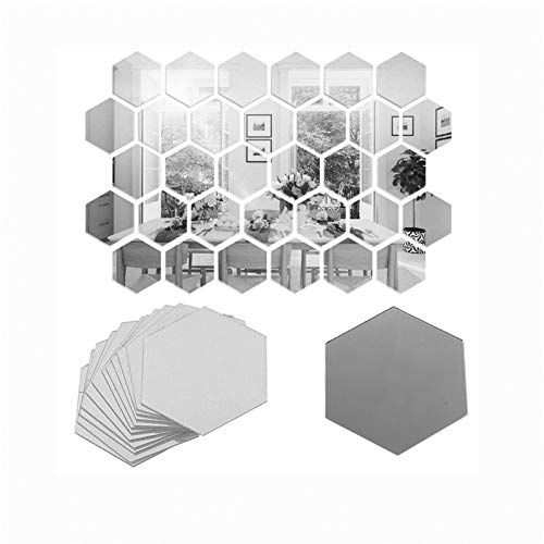 FVVMEED 50 Pieces Hexagon Mirror Wall Sticker Sets, DIY Geometric Removable Acrylic Mirror Wall Decal, 3D Wall Stickers, Personalized Art Hexagonal Mirror for Home Living Room Bedroom Decor, Mini