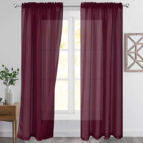 KEQIAOSUOCAI Semi Sheer Curtains Burgundy Red 84 Inch Length Rod Pocket Sheer Faux Linen Curtains Drapes for Bedroom Living Room Wedding Party Decor 2 Panels Each is 52WX84L
