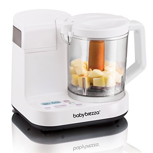 Baby Brezza Glass Baby Food Maker – Cooker and Blender to Steam and Puree Baby Food for Pouches in Glass Bowl - Make Organic Food for Infants and Toddlers – 4 Cup Capacity