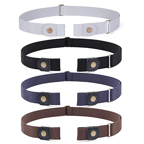 4 Pieces No Buckle Invisible Stretch Belt Buckle-FreeElasticBelt for Women,Black+Coffee+Blue+Grey , Waist Size 34-52 Inches