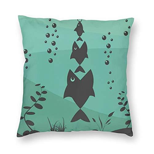 Funda de cojín decorativa con diseño de iconos simbólicos de Big Fish Eats Little Small In Bubbles Underwater Ocean Icons Tema de alimentos, apto para cama completa, funda de cojín de 45,7 x 45,7 cm