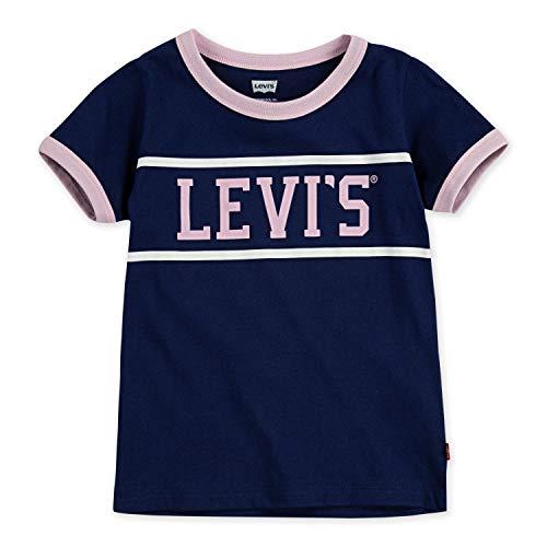 Levi's Girls' Little Graphic Logo T-Shirt, Blue Ringer, 6X Blue Kids Ringer T-shirt