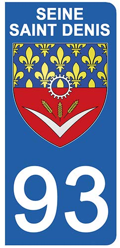 DECO-IDEES 2 Stickers pour Plaque d'immatriculation - 93 - Blason Seine St Denis- Stickers Garanti 5 Ans