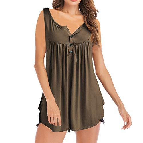 Camiseta con Cuello en V para Mujer Túnica con Botones Tops de Manga Larga/Corta Camisetas Henley para Mujer Blusa con Cuello en V Túnica con Botones Tops Casuales Camisas túnicas Plisadas Sueltas