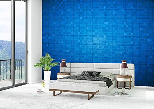 Canvas Wallpaper Self-Adhesive Removable Wall Painting Poster Sticker Craft Wall Sticker Simple Blue encrypted spreadsheet Home Decoration Bedroom Living Room
