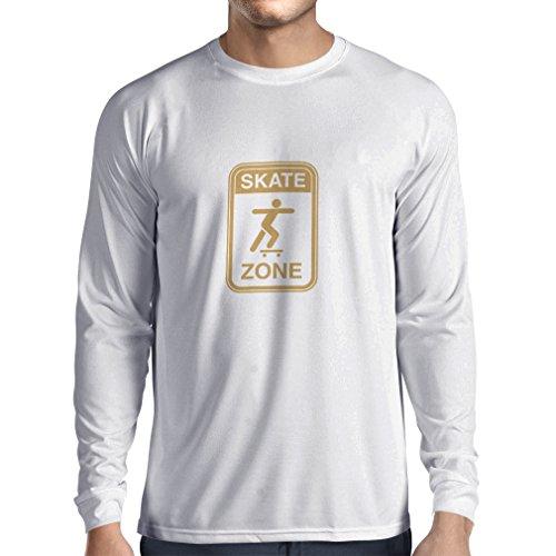 Langarm Herren t Shirts Skate Zone - Für Skater, Skate Longboard, Skateboard Geschenke, Skating Ausrüstung (Medium Weiß Gold)