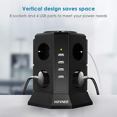 HOVNEE Steckdosenleiste Mehrfachsteckdosen 8 Fach Steckdosenturm (2500W/10A) mit 4 USB Ladeanschlüsse und 2,0 m Kabel (5V/4,5 A),Überspannungsschutz und Kurzschlussschutz,Schwarz …