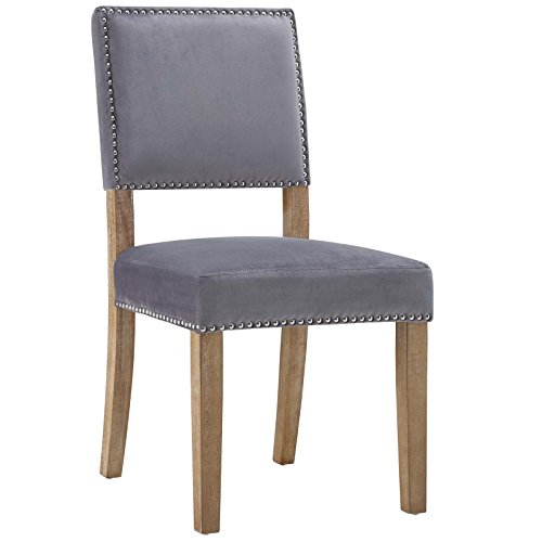 Modway Oblige Modern Farmhouse Performance Velvet Polyester Upholstered with Nailhead Trim, Dining Chair, Gray
