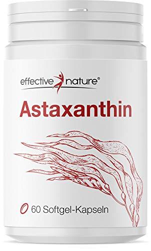 Effective nature Astaxanthin Kapseln – Mit Vitamin C und E, Aus kontrollierter Algenkultur in Schweden, 8mg Astaxanthin pro Tagesdosis, Reicht für 60 Tage, Natürliches Astaxanthin, 60 Kapseln