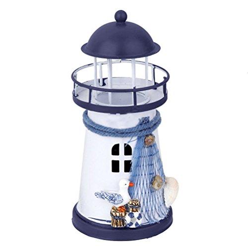 VORCOOL Leuchtturm Modell Nautische Marine Dekoration Teelicht Kerzenhalter (Blau Weiß)