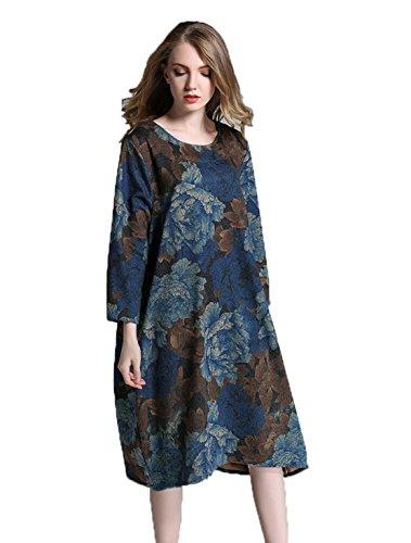 YALI Robe à manches longues avec fleurs XXXXL Grandes fleurs bleues