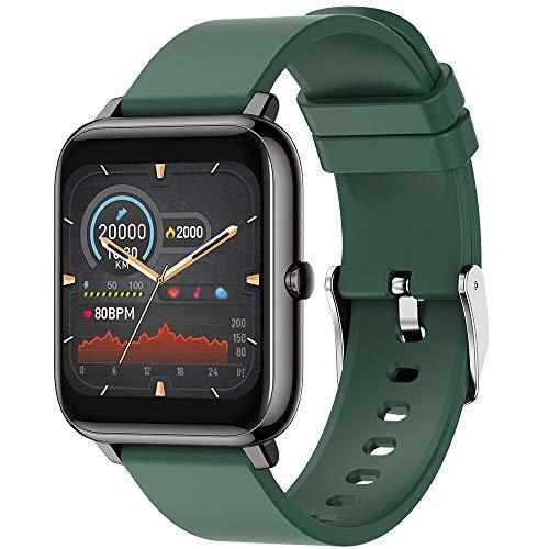 OUYA Reloj Inteligente, Reloj De Fitness con Monitor De Frecuencia Cardíaca, Podómetro con Pantalla Táctil De 1,4 Pulgadas Y Diseño De Recordatorio Sedentario,Verde